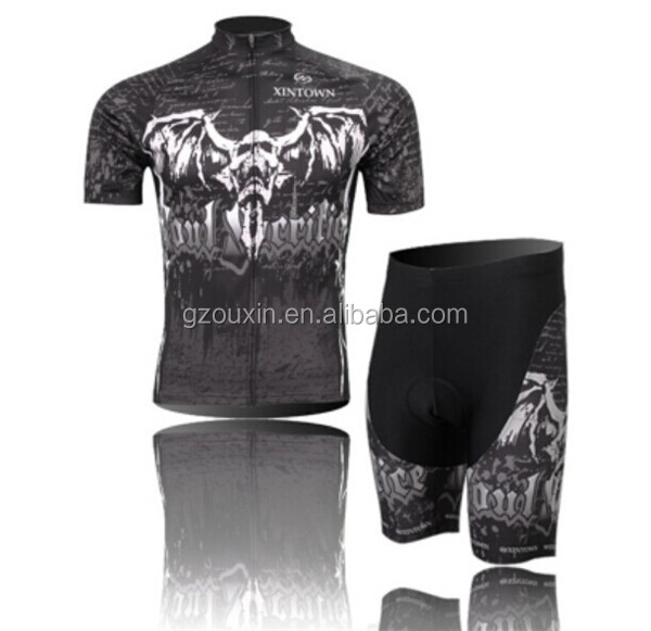 2014 monster skeleton Devil strange design Sportswear bike jersey and bib short suit sets