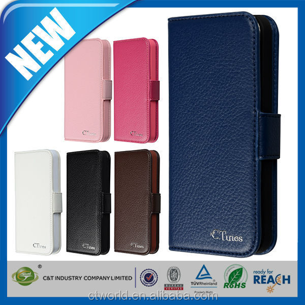C&T Magnetic universal smart phone wallet style leather case for iphone 5s