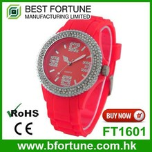 FT1601 Sexy red silicone three hand Japan movt ladies stones watches