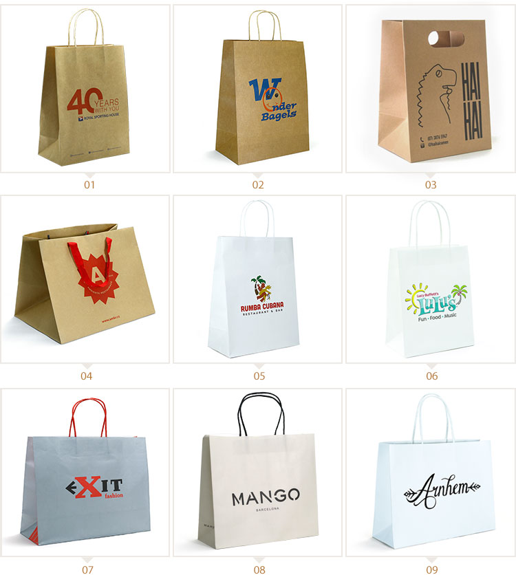 WKP-05 recycled white kraft paper shopping bag