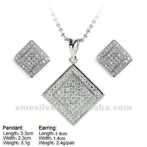 925 Silver Jewelry, Micro Pave CZ Jewelry Sets,sterling silver square jewellery set