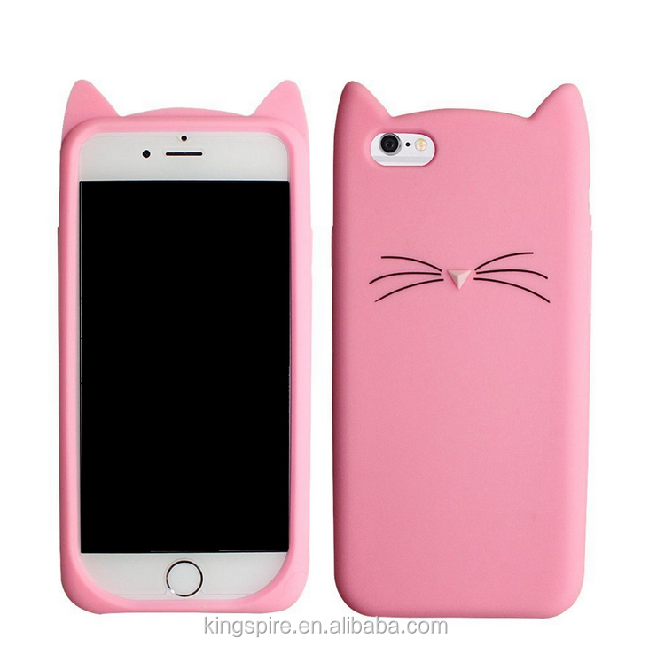 Cats Rubber Phone Case For iPhone 7 6s 6 5s 5 3D Cat Silicone Cover Case