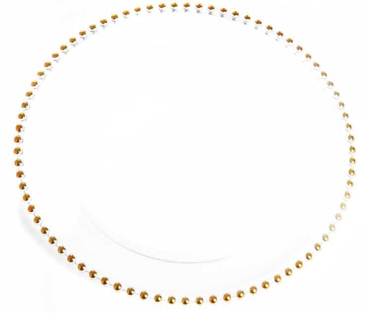 wholesale banquet wedding Gold Silver rim beaded glass charger plate