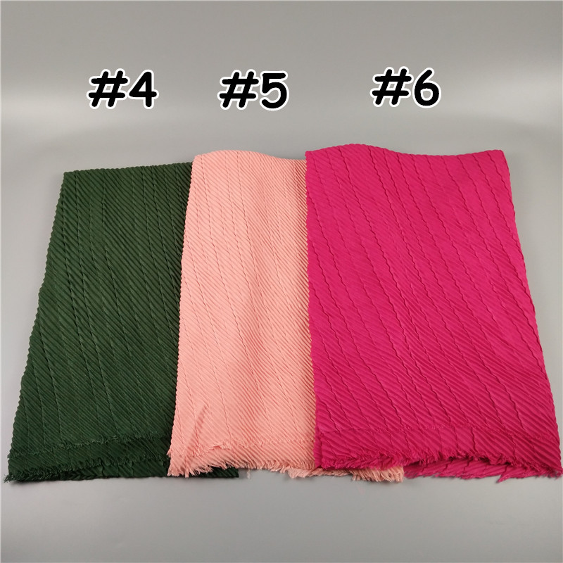 2017 Cotton Wholesale Hijab Solide Color Crepe Muslim Headscarf
