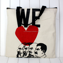 Wholesale customized logo printed canvas cotton shopping tote bag