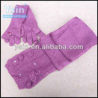 fashion knit scarf and gloves set with floret