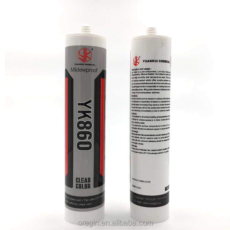 Solvent Resistance One Component Acid/Acetic Mildew butyl rubber caulk cartridge 300ml