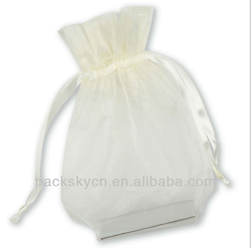 Fancy flocking organza gift pouches jewelry pouch organza bag