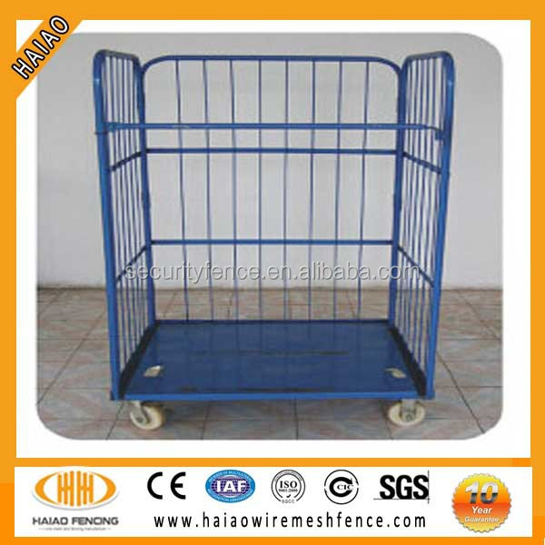 Foldable steel laundry roll cage with wheels