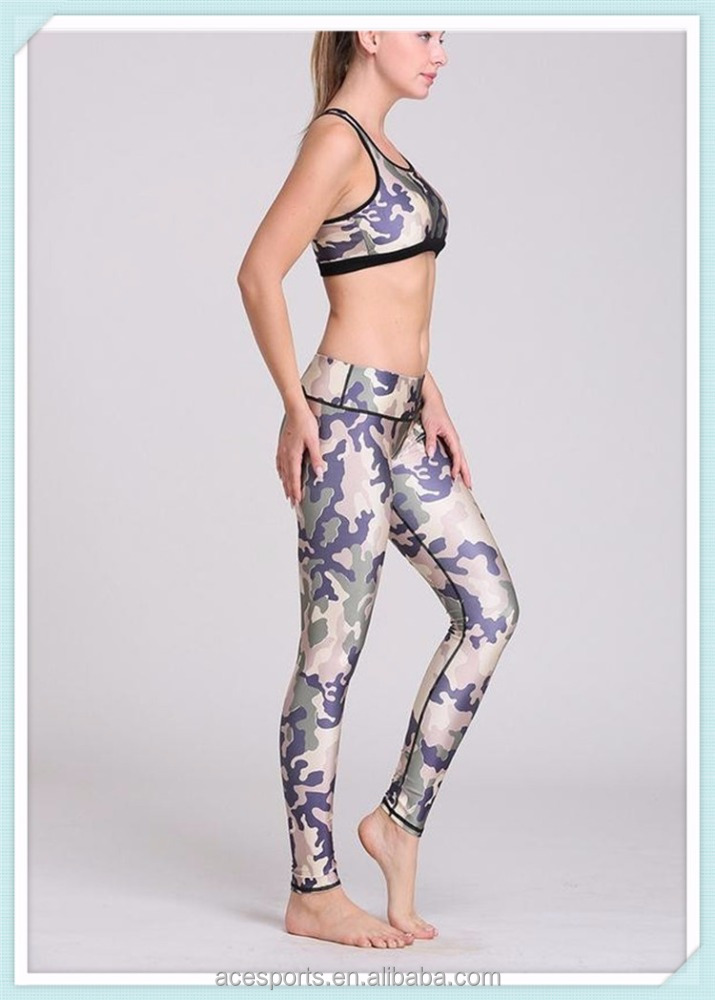 Hot sale sublimation printed camouflage women yoga set sexy fitness yoga wear leggings