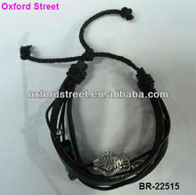 2013 hot selling Restore ancient ways Black Genuine leather bracelet with pendant BR-22515