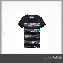 Custom Trendy Sexy V-Neck T-Shirt/Floral T-Shirt Cotton Fabric 2016