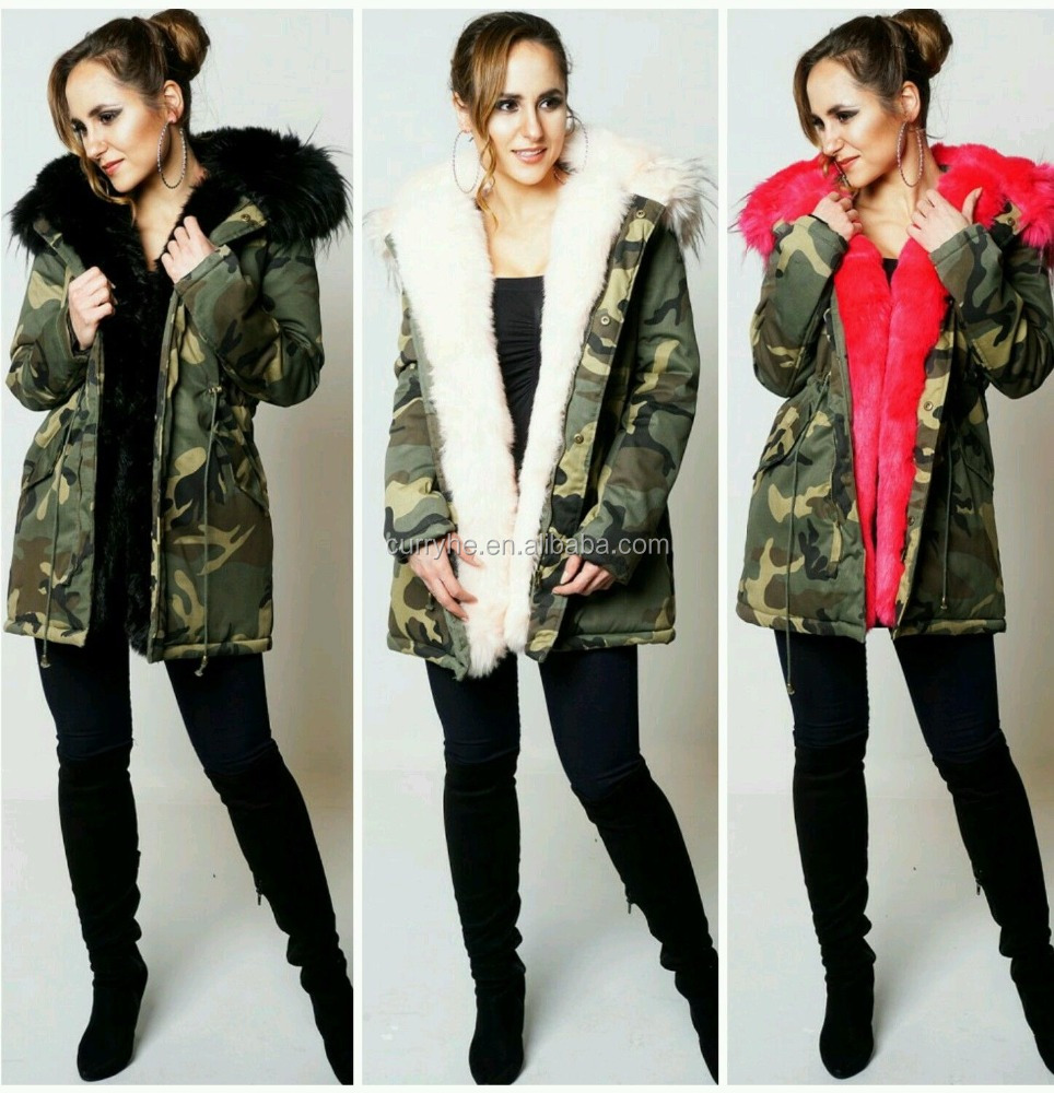 China Manufacturer OEM Service Winter Outside Warm Camo Pullover Women Parka fur jacket