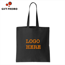 Custom Personalized Logo Black Color Canvas Cotton Tote Bag
