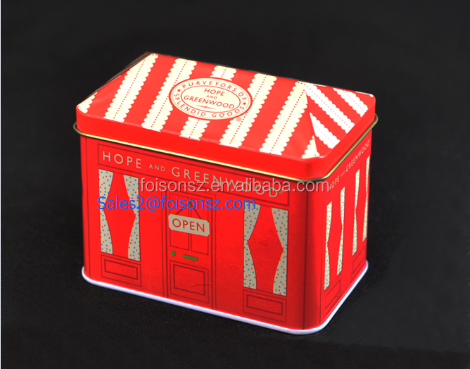 custom made candy tin box wholesale with roof