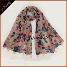 Wholesale women multi colors Brand floral Tassels Printed viscose scarf