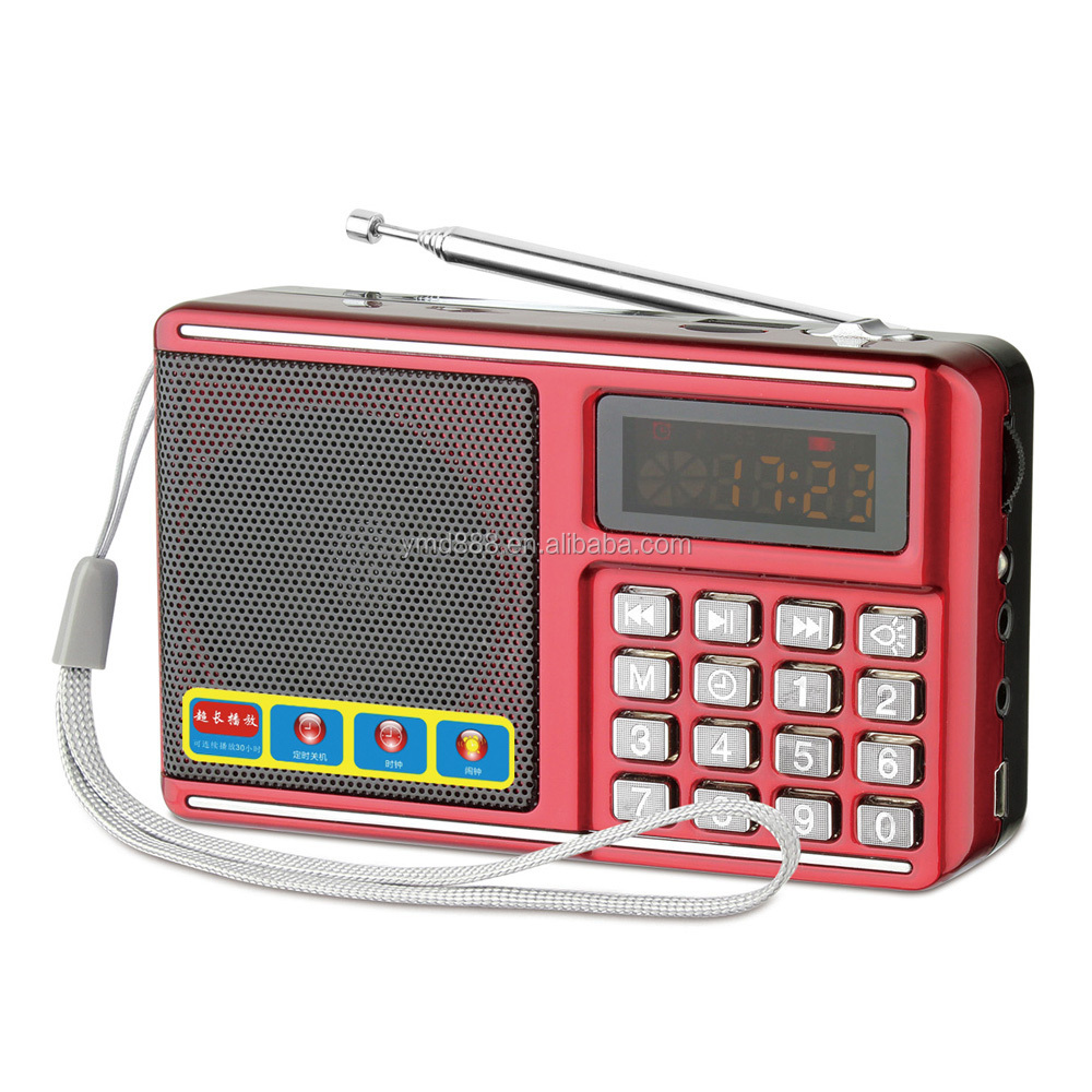 Portable mini LCD Digital fm radio speaker usb port mp3 player