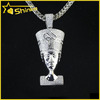 Lab Diamond Sterling Silver Iced Out Hip Hop Pharoah Egyptian Pendant