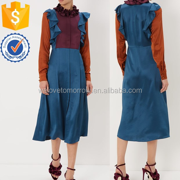 Wholesale women long sleeve silk satin with a layered ruffle collar midi dress TW2162D