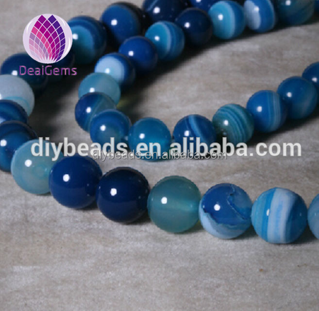 Hot selling 8 mm round blue banded agate loose beads semi gemstone agate beads