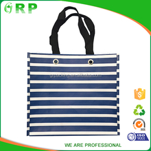 Wholesale good quality navy white stripe design durable pp non woven bag