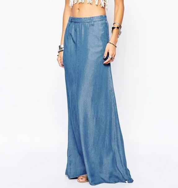 2016 LATEST DESIGN DENIM SKIRTS LONG MAXI SKIRTS FOR FASHION LADIES