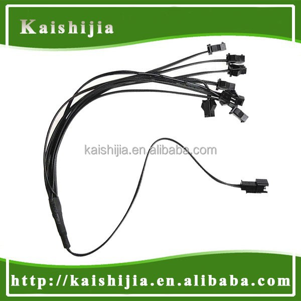 8 Way Female to Male Standard 2 Pin Connector EL Wire Splitter Cable Extend Line Black