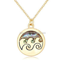 Abalone Shell and Wave Pattern Pendant Design Gold-Plated Necklace Dainty jewelry