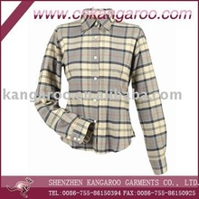 2014 New Design Ladies Checked Casual Shirt