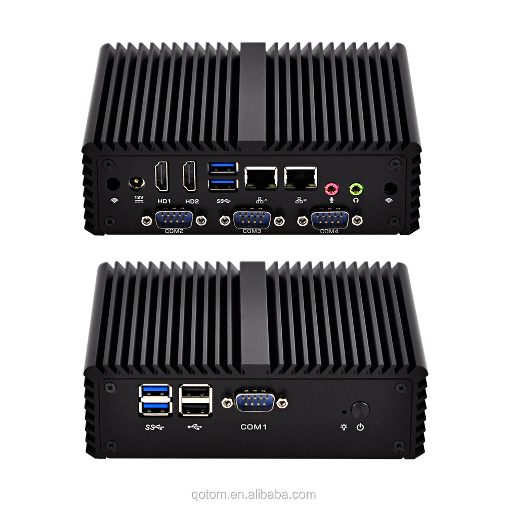 Q410P Qotom Mini PC 12V Fanless 3215U Dual Gigabit LAN 4 RS232