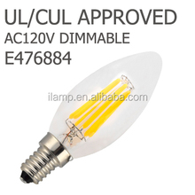 2015 Hot in South Korea All Glass LED Filament Bulbs E12/E14/E17/E26/E27/B22