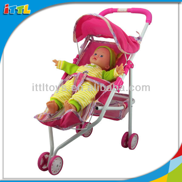 "A543897 14"" Cute Pushing Car Boy Baby Doll"