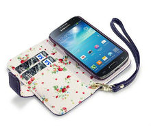 For Samsung Galaxy S4 Mini Wallet Case, for Galaxy S4 mini Leather Case With Floral Interior