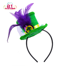 2018 New Mardi Gras Feather Headband Mini Steampunk Top Hat