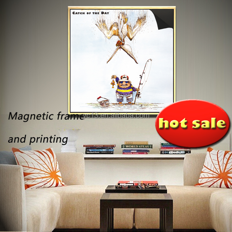 easly updating art magnetic frame & print magnetic painting crazy fisherman 1013-139