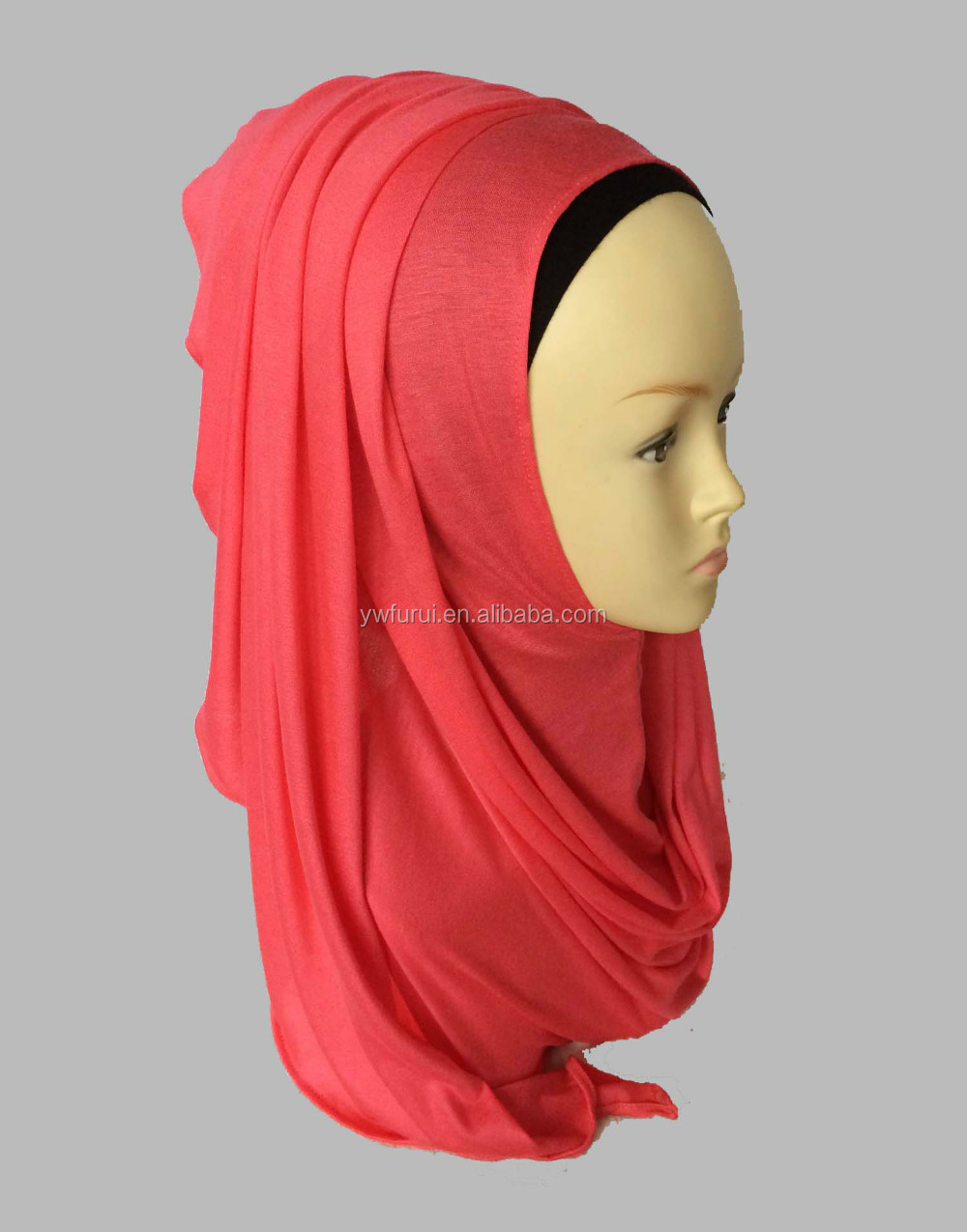 Fashion Beauty Women Muslim Jersey Instant Shawls Cotton Solid Color Scarf Plain Hijabs