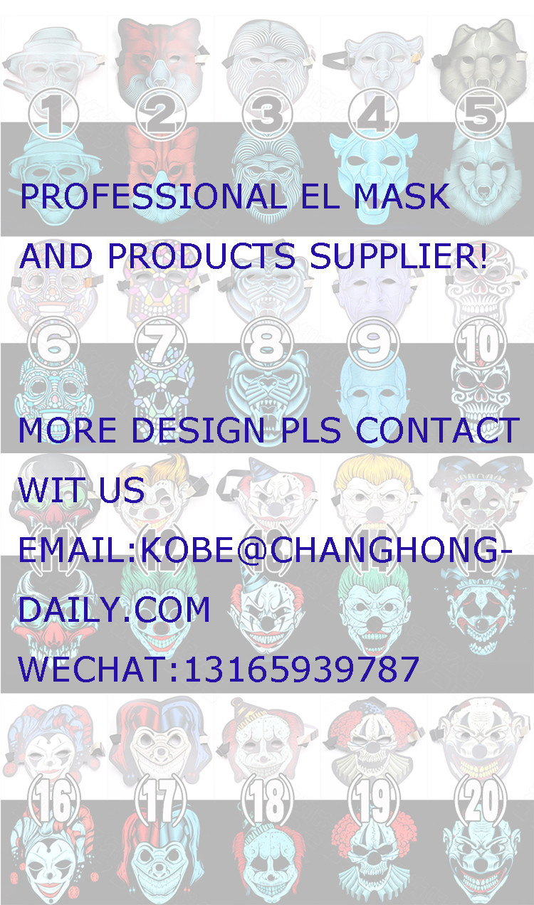 factory wholesale ODM halloween mask led EL sound activated mask for party