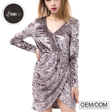 women night party velvet long sleeve sexy fashion woman dress