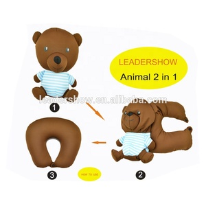 2 in 1 bear shape throw cushion can change to soft neck u shape pillow