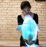 chinese market export cute dolphin plush toy with music box and led light for wholesales