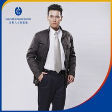 Dark brown winter thick down coating leather or lether parka jacket garments used in motorcycle