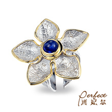 Nature Blue Glass Handmade 925 Sterling Silver Ring Jewelry with Gold Plated