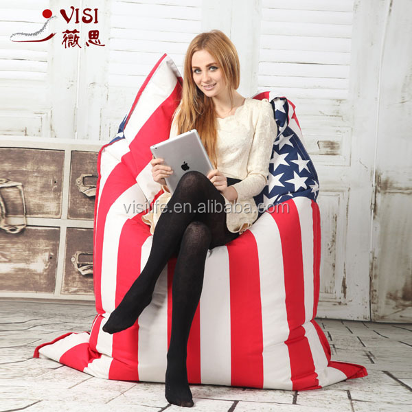 Fashion large square flag printed beanbags bean bag chairs bulk