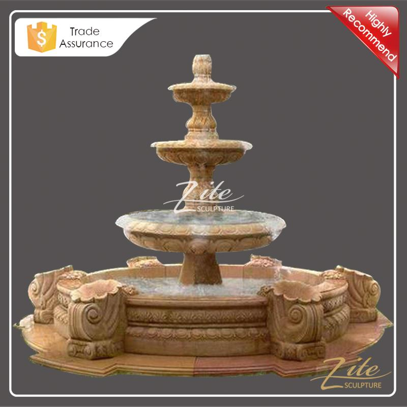 Hand Carved Outdoor Three Tier Marble water fountain for sale