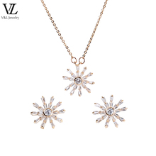 Lady gold plated zirconia crystal fashion jewelry set