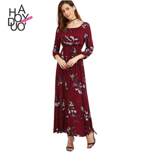 HAODUOYI Women Floral Print Dress Female Long Sleeve Bohemian Style Maxi Dress Ladies Elastic Waist Vestidos for Wholesale
