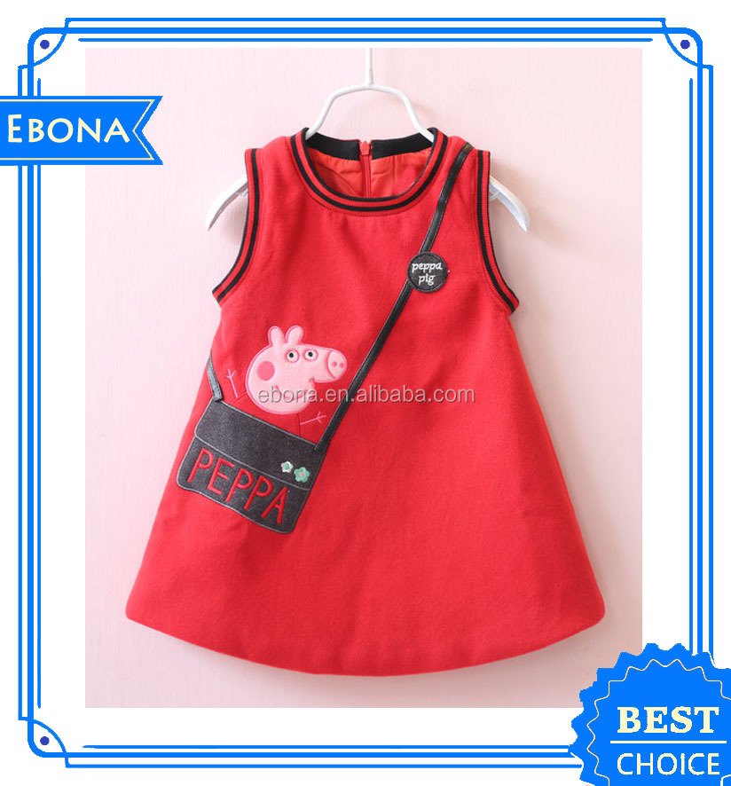 Latest Design Cartoon Sleeveless Dress Baby Frock Design For 3-6 Years Old Girl Wear