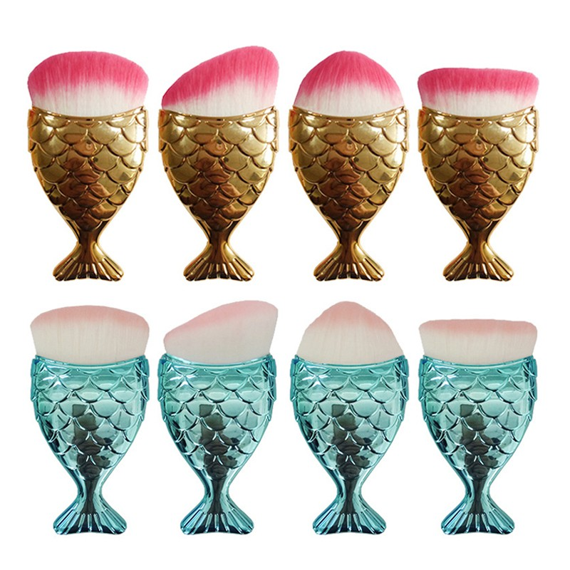 2017 New fish shape Rose gold mermaid makeup brushes maquiagem professional makeup for face foundation brushes