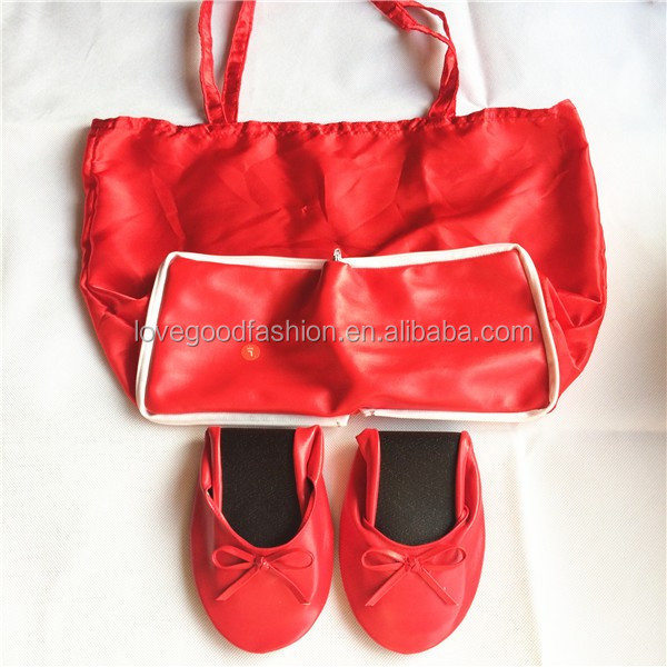 Leather Foldable Ballet Flat <strong>Shoes</strong> With Non Woven Tote For High Heels