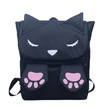 2017 New Design Fashion China Factory Black 3D Cat Book Bag Children Kids Canvas School Backpack